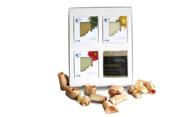 Geschenkbox 3 Naturseifen & 1 Filzseife von Alpine Cosmetics
