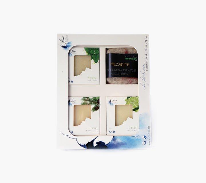 Geschenkbox 3 Naturseifen & 1 Filzseife